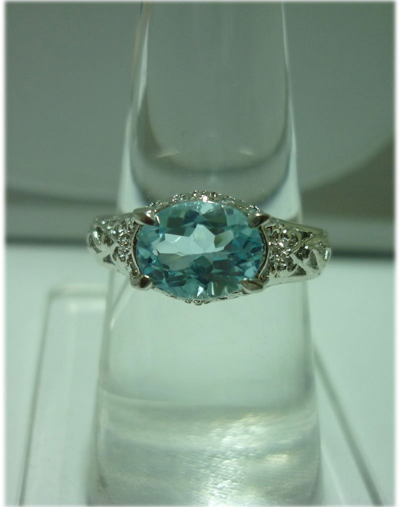 17.00 ctw Blue Topaz RING .924 STERLING SILVER