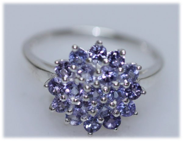 12.46 CTW TANZANITE RING .925 STERLING SILVER