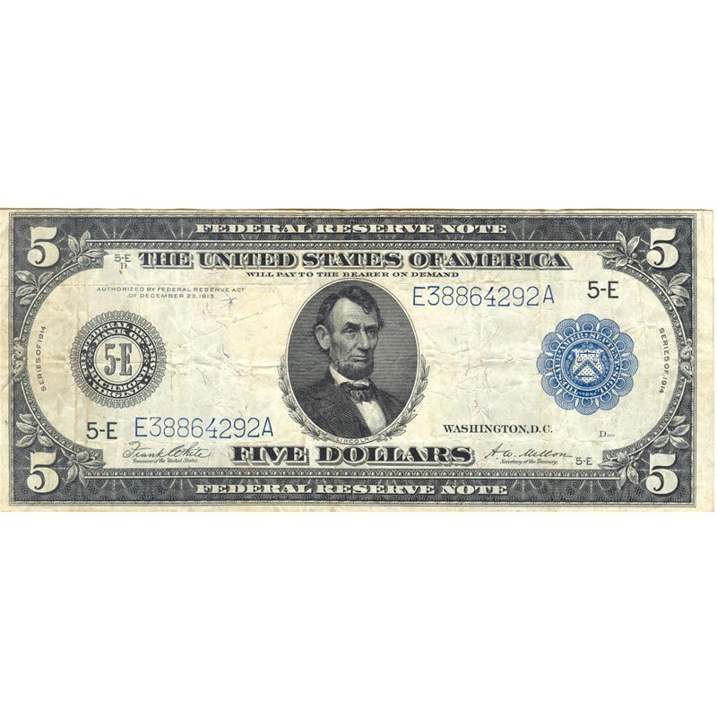 1914 $5 Federal Reserve Note, F-VF