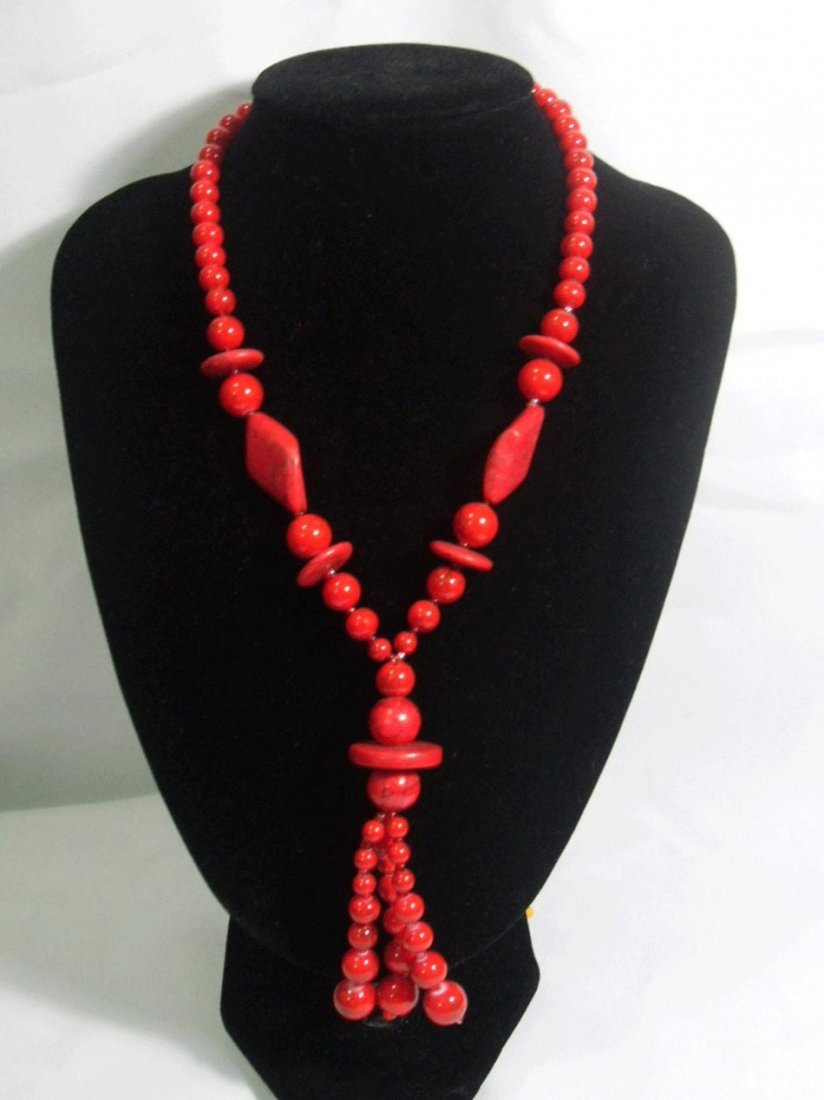 550CTW REDTURQUOISE LONGSTRAND NECKLACE SIZE 20INCH