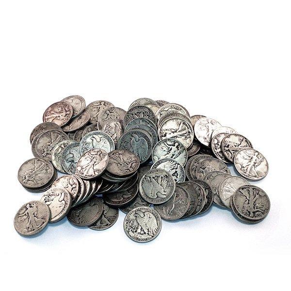 90% Silver Walking Liberty Halves 100 pcs.