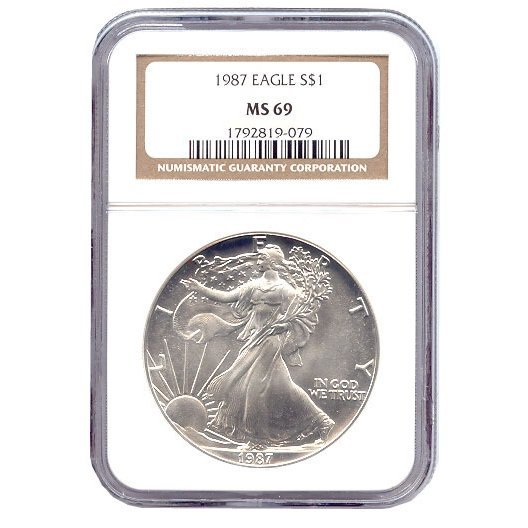 Certified Uncirculated Silver Eagle 1987 MS69