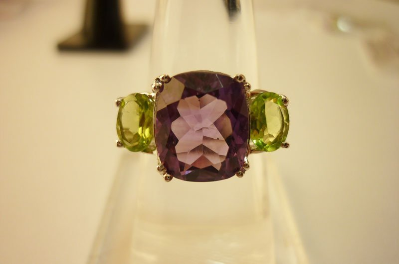 26.80 CTW Amethyst AND PERIDOT Ring .925 Sterling Silve