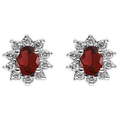 Genuine 1.40 ctw Garnet ,DIAMOND Earring 14k 1.9g