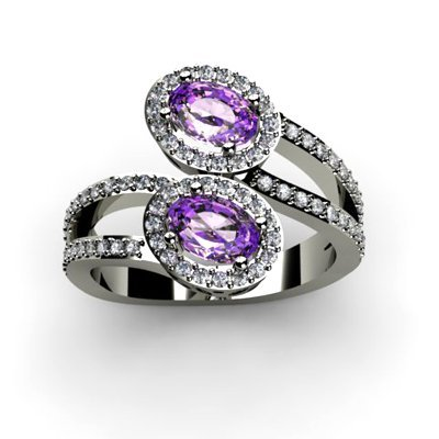 Amethyst 1.23 ctw & Diamond Ring 14kt W/Y Gold