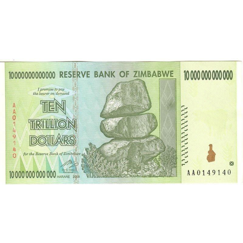 2008 Zimbabwe 10 trillion dollar inflation note