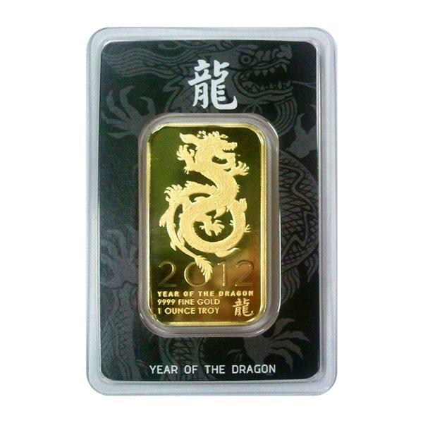 Gold Bars: 2012 Gold Dragon One Ounce Gold Bar