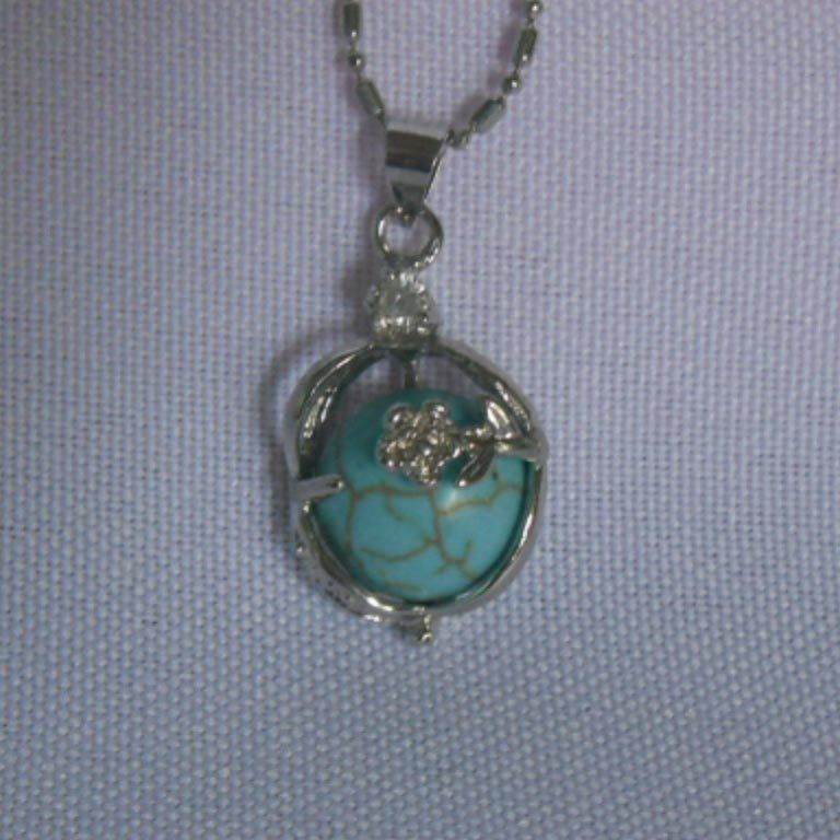 BLUE TURQUOISE FLORAL NECKLACE; STONE-TURQUISE; METAL-S