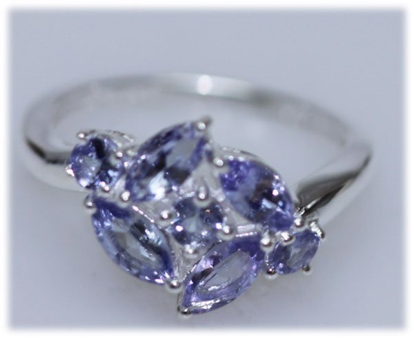 10.10 CTW TANZANITE RING .925 STERLING SILVER