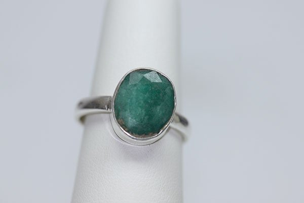 18.32 CTW EMERALD RING .925 STERLING SILVER