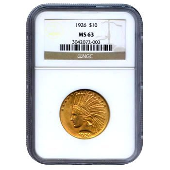 Certified US Gold $10 Indian MS63