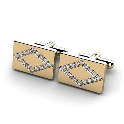 Genuine 0.96 ctw Diamond Cufflink 14k W/Y Gold