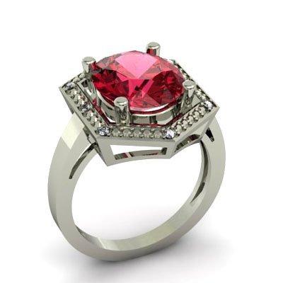 Genuine 5.08 ctw Garnet Diamond Ring W/Y Gold 10kt