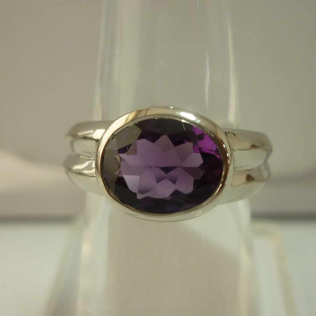 27.75 CTW AMETHYST RING .925 STERLING SILVER