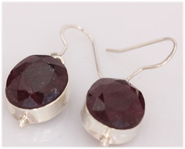 NATURAL 42.15 CTW RUBY OVAL EARRINGS .925 STERLING SILV