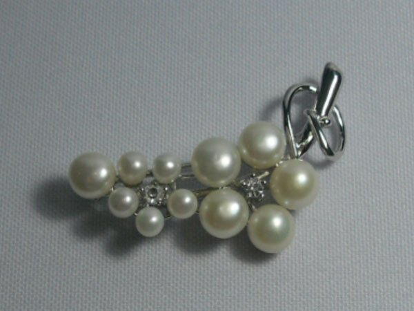 FLOWER STEM WHITE PEARL CZ BROOCH AUTHENTIC PHILIPPINE