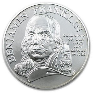1992 Ben Franklin Firefighters Silver Medal 1oz - Unc