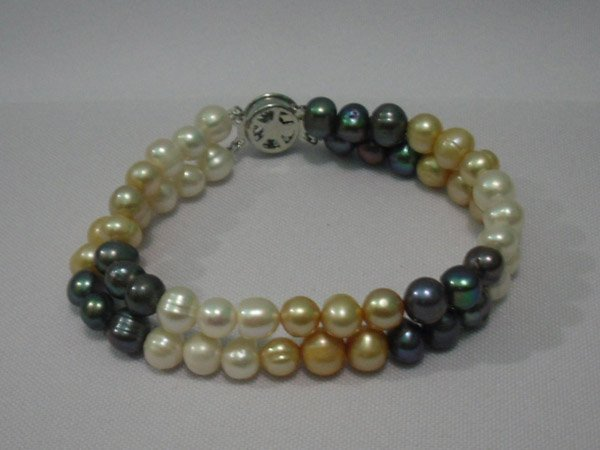 125 CTW DOUBLE STRAND EGG PEARL (YELLOW-WHITE-BLACK) BR