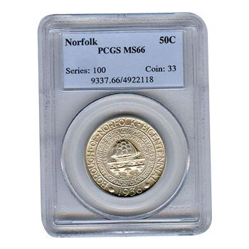 Certified Commemorative Half Dollar Norfolk MS66 PCGS
