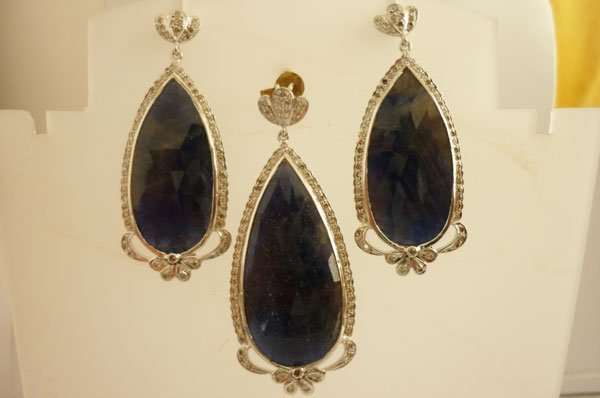78.00 CTW SAPPHIRE AND DIAMOND EARRINGS .925 STERLING S
