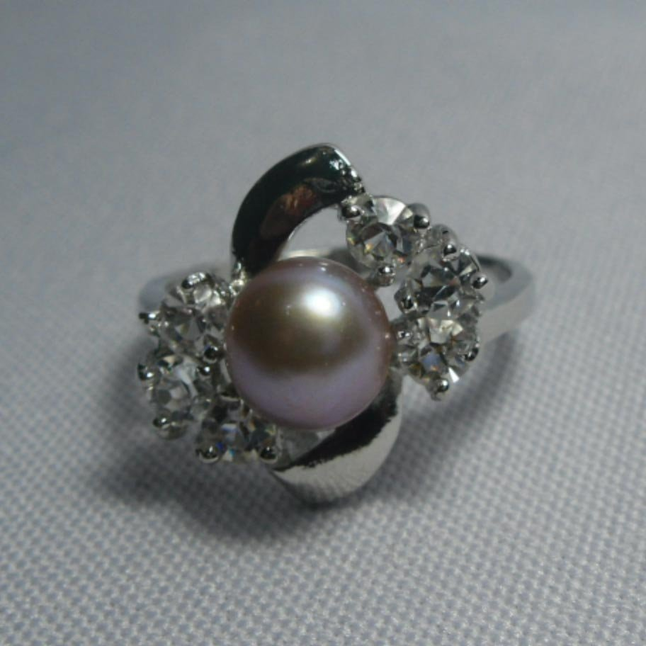NOBLE PURPLE PEARL CZ RING;