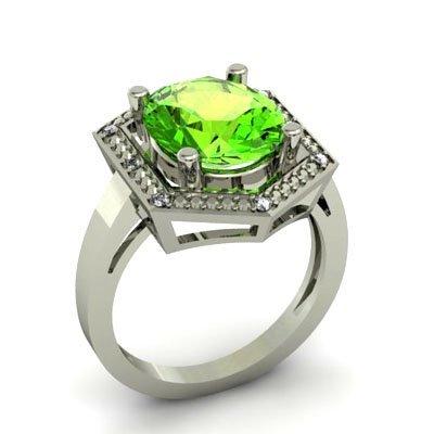 Genuine 4.08 ctw Peridot Diamond Ring W/Y Gold 10kt