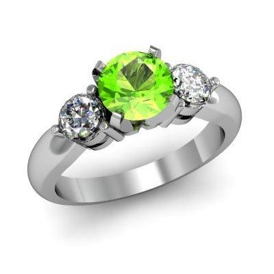 Genuine 1.55 ctw Peridot Diamond Ring W/Y Gold 14kt
