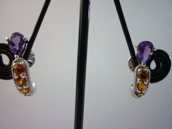 21.25 CTW CITRINE AND AMETHYST EARRING .925 STERLING SI