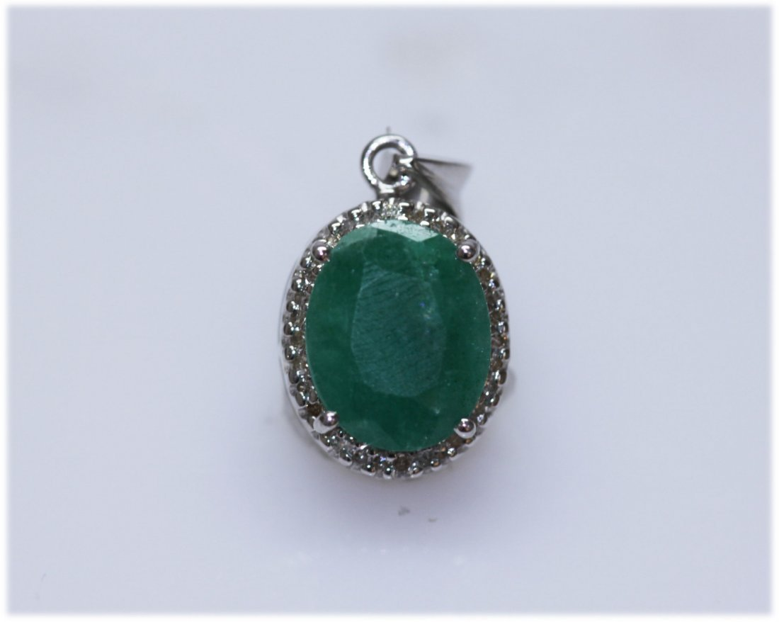 14.15 CTW EMERALD AND DIAMOND PENDANT .925 STERLING SIL