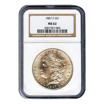 Certified Morgan Silver Dollar 1887-S MS62 NGC