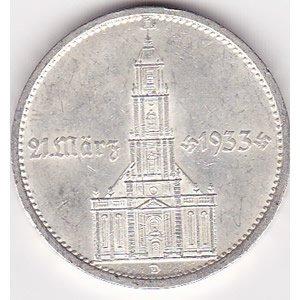 Germany 5 reichsmark 1934, Potsdam Church with date