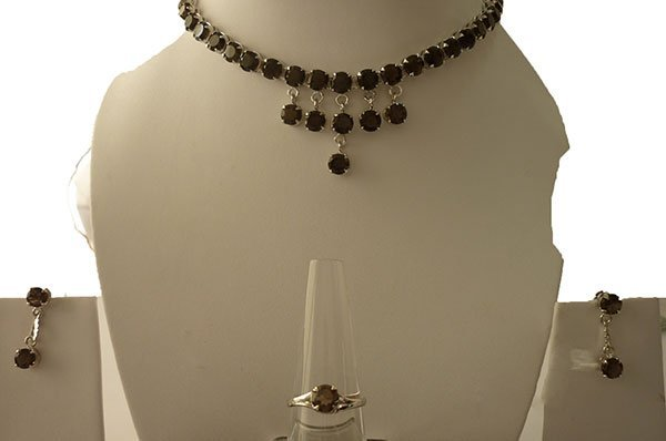 89.20 ctw Smoky (round) Necklace .925 Sterling Silver