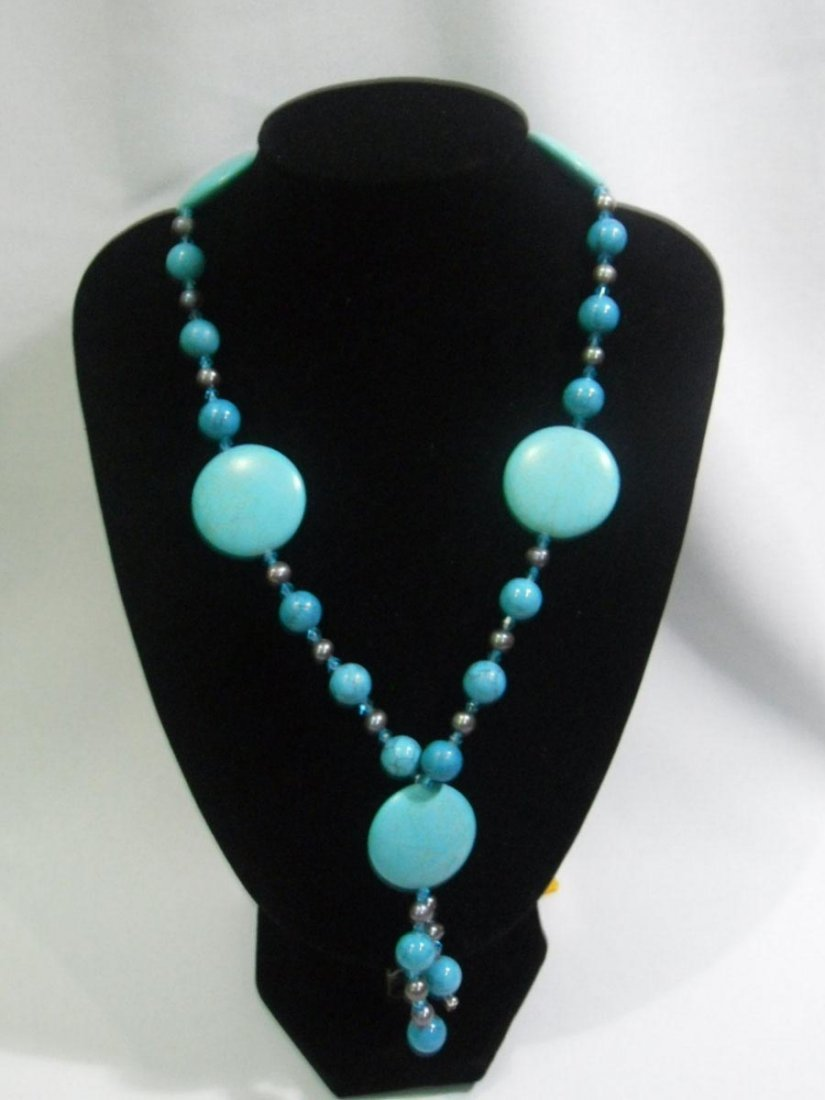 800 CTW BLUE TURQUOISE AND BLACK PEARL NECKLACE; AUTHEN