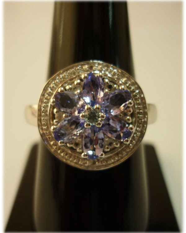 27.25 ctw Tanzanite Marquize Ring .925 Sterling Silver