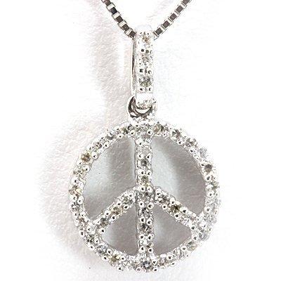 Genuine 0.16 ctw Diamond Peace Sign Necklace 14K