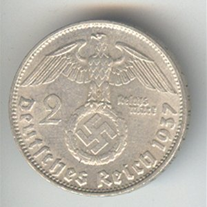 Germany Third Reich 2 reichsmark, 1936-1939, VF-XF, KM9