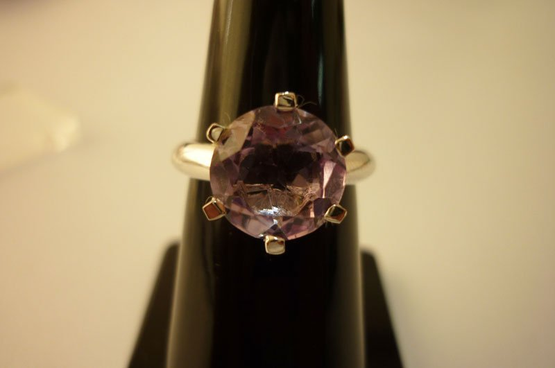 17.00 CTW Amethyst single big round Ring .925 Sterling