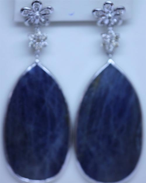 113.20 CTW SAPPHIRE AND DIAMOND EARRING .925 STERLING S