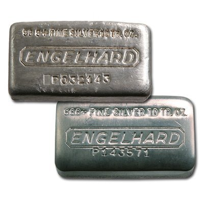 Silver Bars: Engelhard 10 oz Bar (Wide, Poured) .999 fi