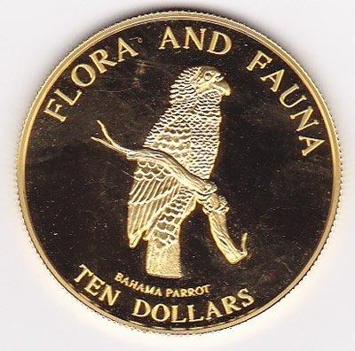 Bahamas $10 gold 1995, Bahama Parrot