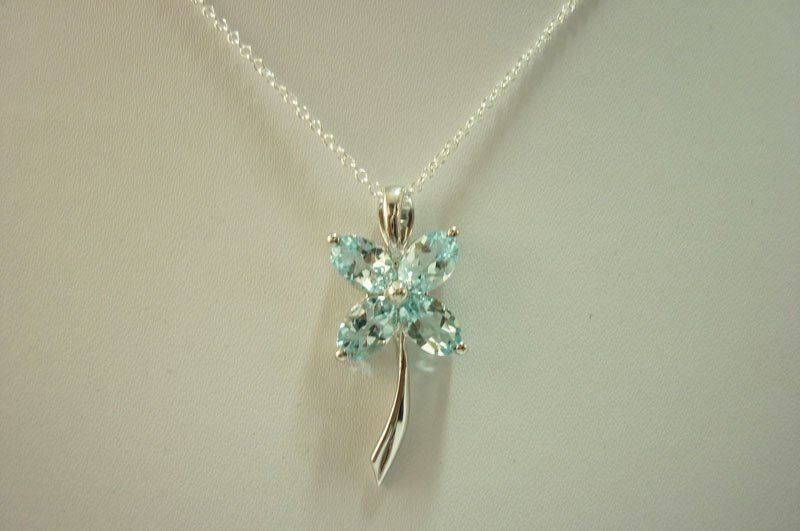19.05 ctw Blue Topaz Pendant with chain .925 Sterling S