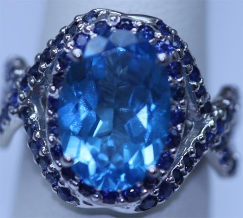 31.15 CTW BLUE TOPAZ AND SAPPHIRE RING .925 STERLING SI