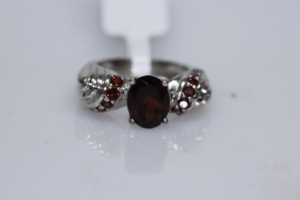 33.25 CTW GARNET RING .925 STERLING SILVER
