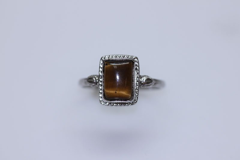 11.45 CTW TIGER EYE RING .925 STERLING SILVER