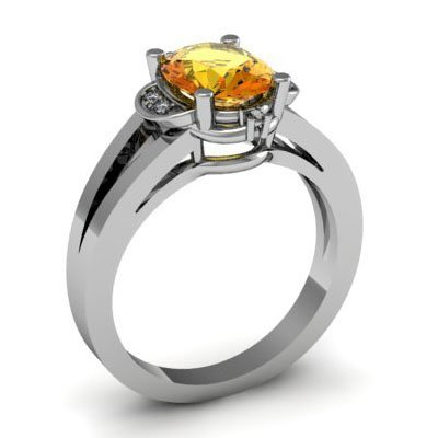 Genuine 1.31 ctw Citrine Diamond Ring W/Y Gold 10kt