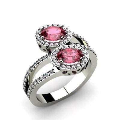 Garnet 1.43 ctw & Diamond Ring 18kt W/Y Gold