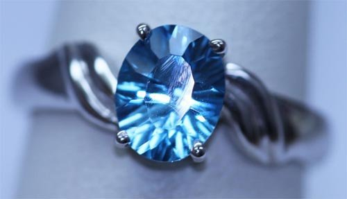 14.40 CTW BLUE TOPAZ RING .925 STERLING SILVER