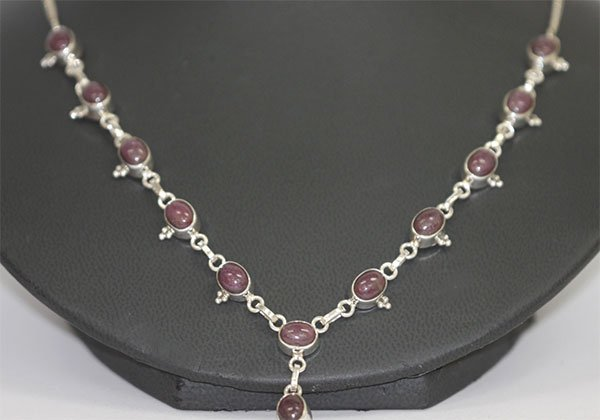 87.05 CTW RUBY NECKLACE .925 STERLING SILVER