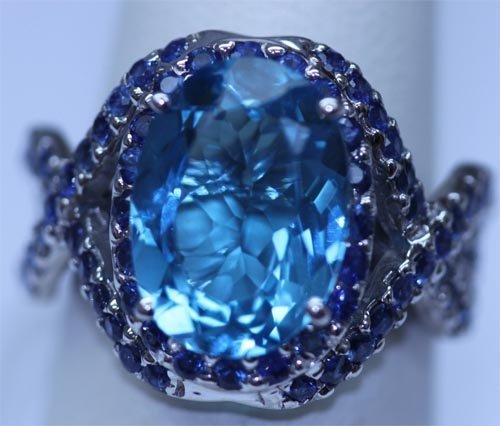 29.90 CTW BLUE TOPAZ AND SAPPHIRE RING .925 STERLING SI