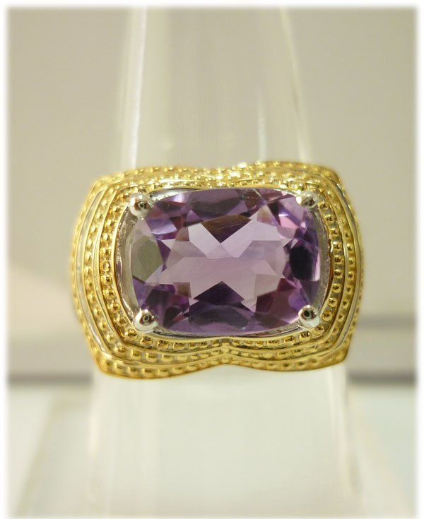 29.60 ctw Gold Plated silver amethyst Ring